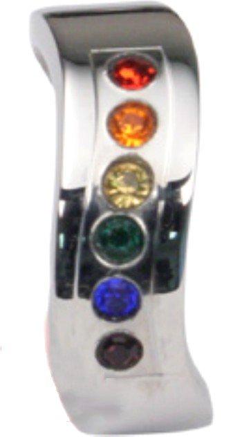 5mm Gay Pride Rainbow Cz Wavy Stainless Steel Ring SSR17 Sz: 5, 6, 7, 8, 10