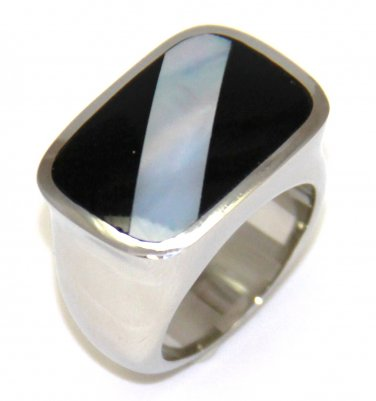 Black Onyx Abalone Stainless Steel Ring SSR2799