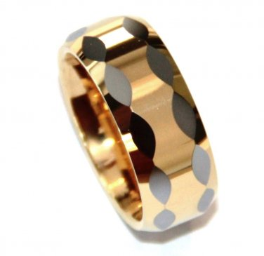High Polish Multi Faceted Gold Tungsten Carbide Ring TU3094 Size 8
