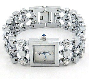 Square Face CZ Stainless Steel Fashion Watch WW105