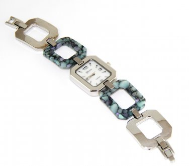 Rectangle Abalone Stainless Steel Links Fashion Watch WW101