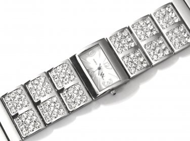 Sparkling Crystal Pave Wide Band Fashion Watch WW108