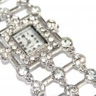 Chunky Clear CZ Silver Toggle Fashion Watch WW114