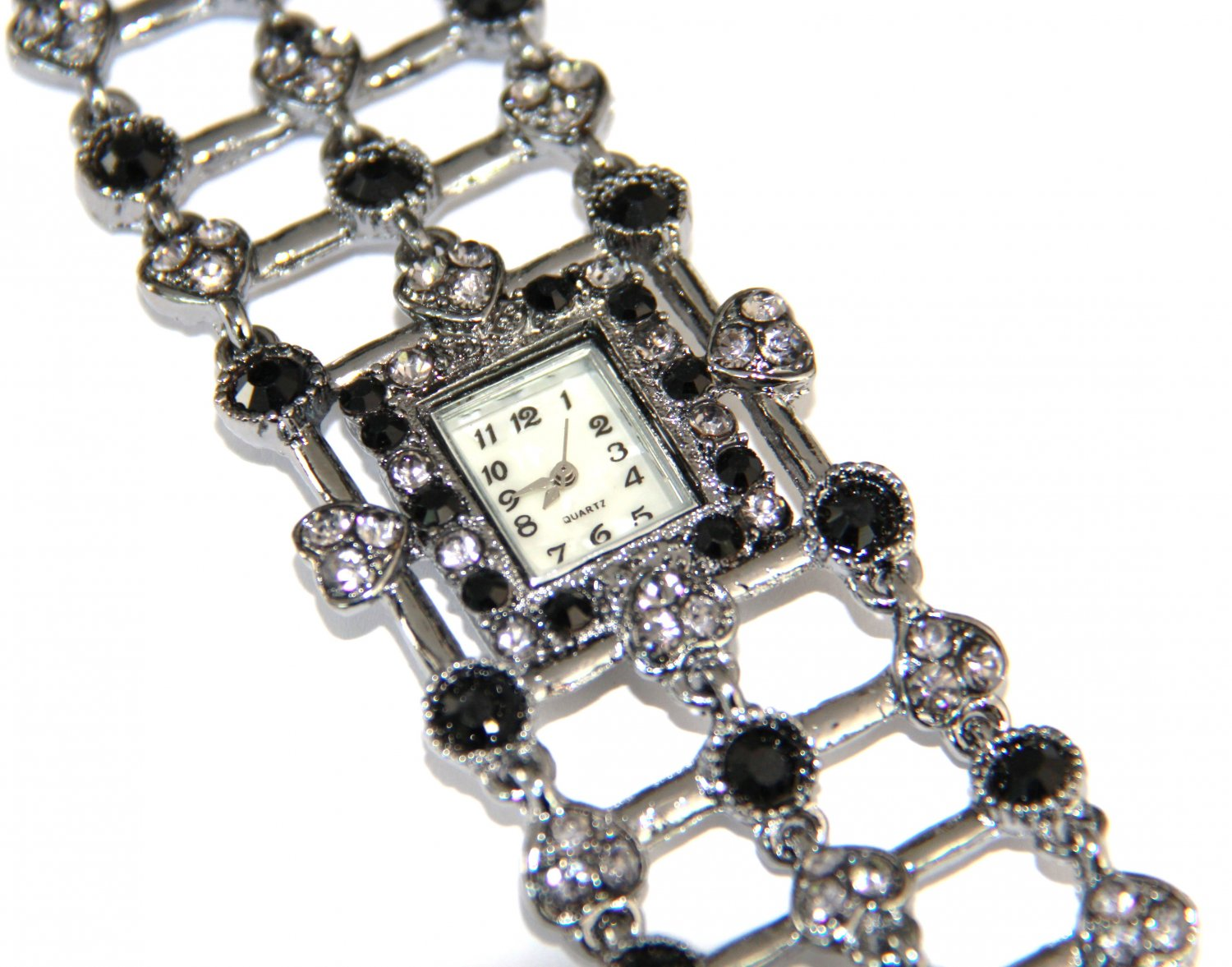 Black / Clear Crystal Pave Gunmetal Toggle Watch WW116