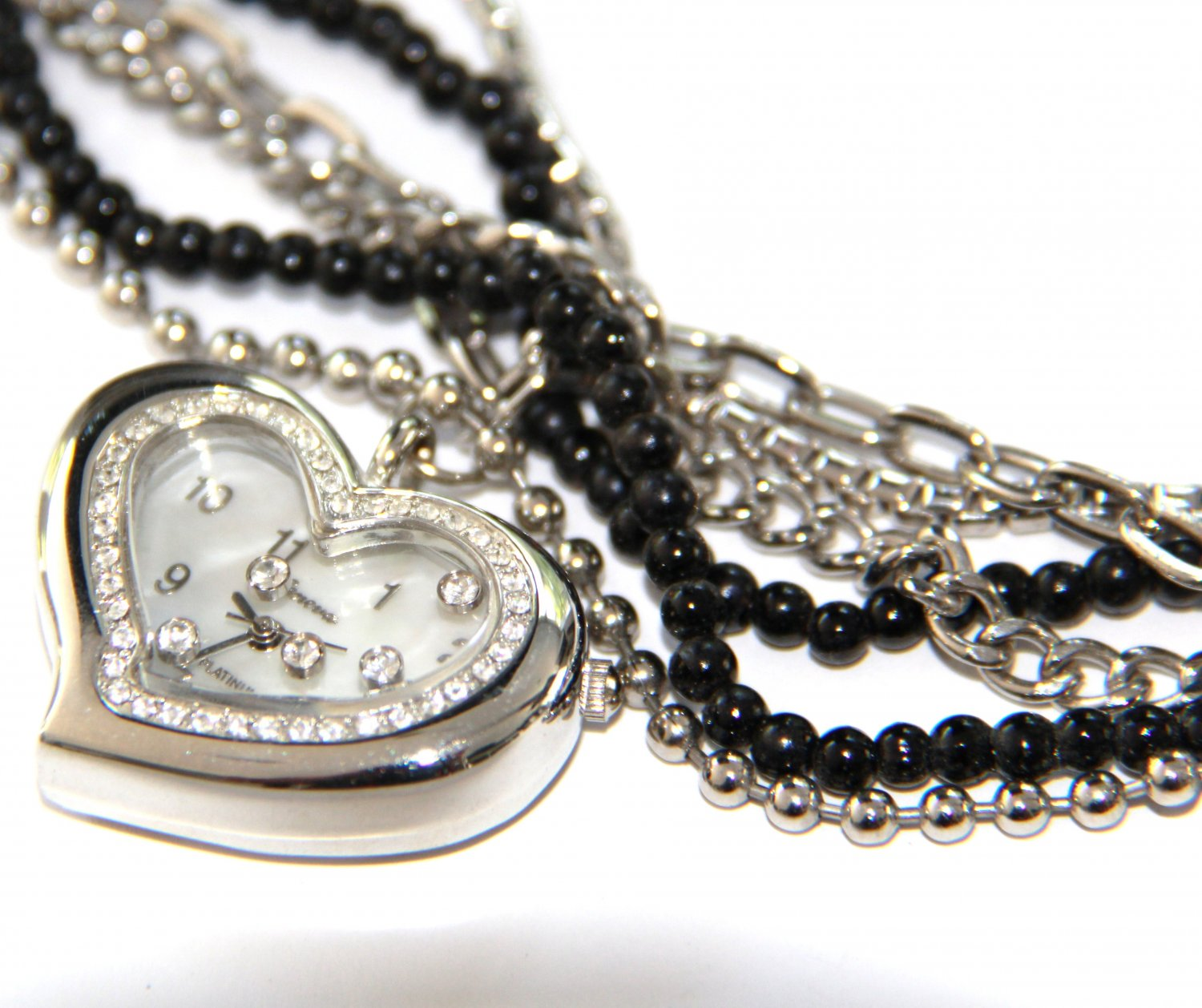 Floating Crystals Heart Face Multi Chain Watch WW121