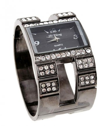 Gunmetal Crystal Chunky Fashion Watch WW126