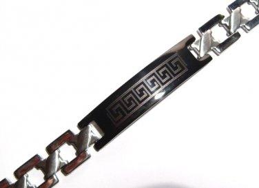 Black Greek Key Stainless Steel Bracelet SSB11341