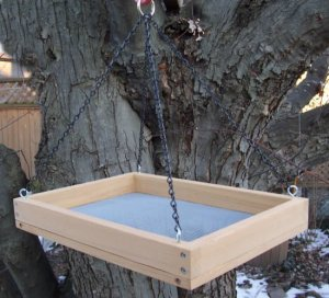 Cedar Hanging Platform Bird Feeder w-Chains - Large