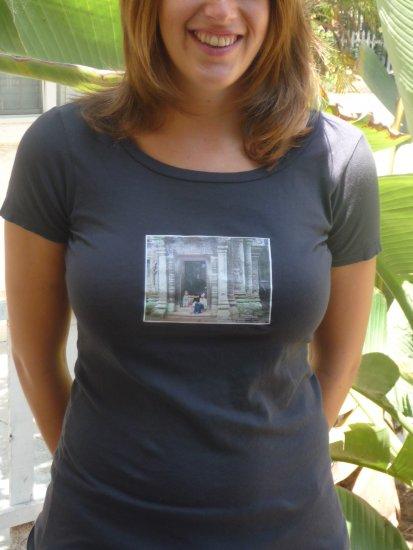 Coal colored organic scoop tee cambodia angkor wat small medium large alternative apparel