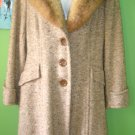 70's Vintage Golden Brown Tweed Coat with Fur Collar