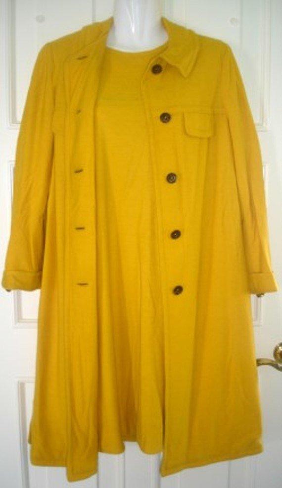 VINTAGE WALKER SCOTT COMPANY Mustard Yellow Dress & Coat Set