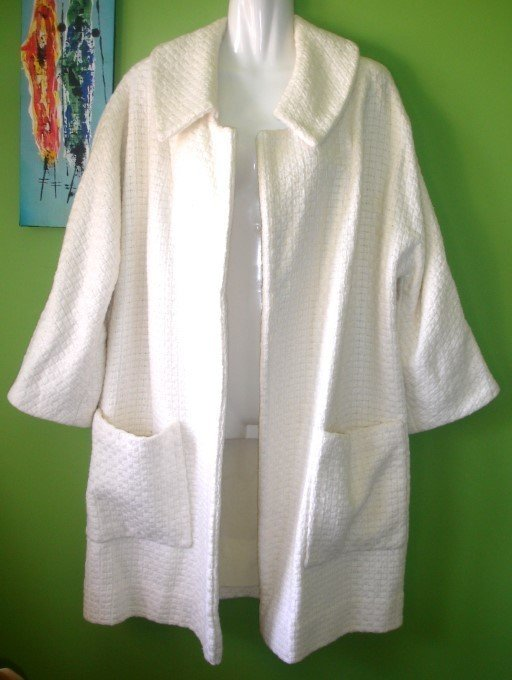 80's VINTAGE White Tweed Swing Coat, Size X-XL