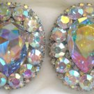 90's Vintage Iridiscent Rhinestone Clip-On Earrings