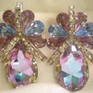 1990's Vintage Iridiscent Violet Tear-Drop, Clip-On Earrings