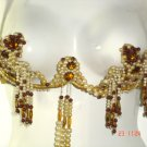 1970's VINTAGE AMBER & PEARLS BELLY DANCE (BURLESQUE) COSTUME, 6 PC SET