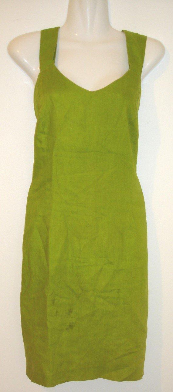 1980's MICHAEL K GREEN LINEN DRESS