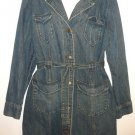 Victoria's Secret MODA INTERNATIONAL Cotton Denim Trench Coat, Size L