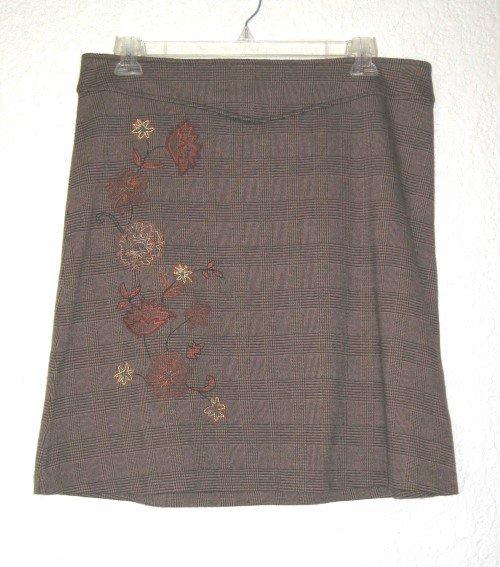 NEW YORK & COMPANY Stretch Brown Plaid Skirt, Size XL