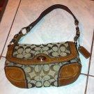 COACH Brown Leather & Canvas Shoulder Bag