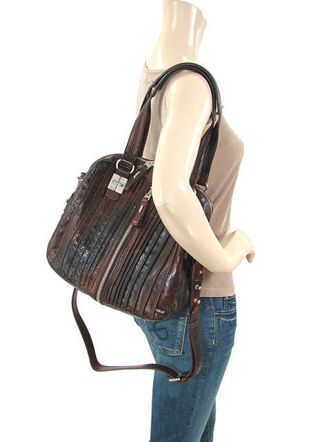 """TULAH RAY """"The Split"""" Leather Extended Satchel in Berry"""