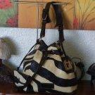 DOONEY & BOURKE Drawstring Zebra Print Leather Sack