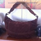 FOSSIL Brown Leather & Velour Hobo