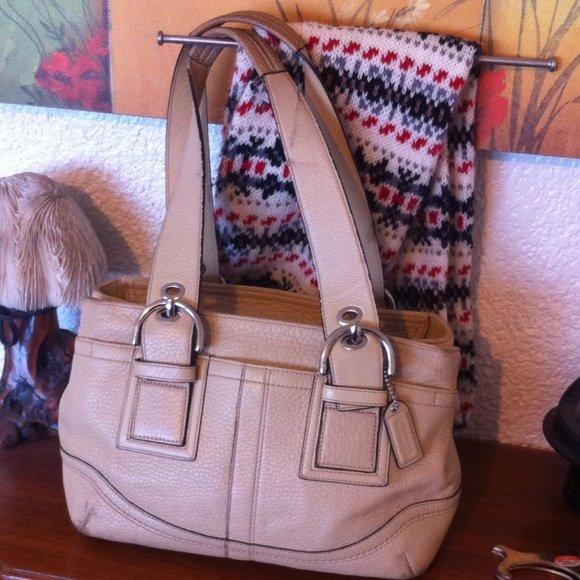 "COACH ""Soho"" Pebbled Leather Satchel in Nude"