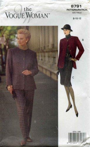 Vogue Pattern 8791; Jacket, Slim Skirt, Slacks Sizes 8-10-12 - UNCUT