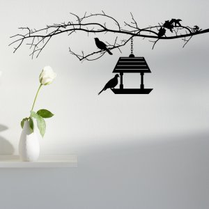 Bird Feeder and Bird on a Branch Wall Decal