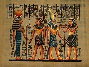 Horemheb Presents Liquids To Horus And Hathor
