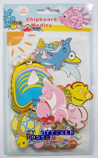 3D Chipboard Sticker Sea Animal Theme for scrapbooking craft FREE SHIPPING + BUY ANY 2 FREE 1