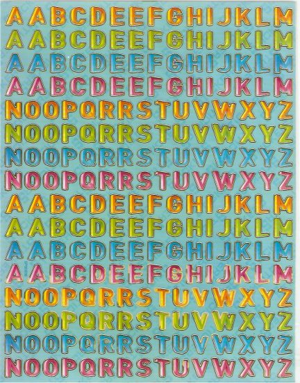 5 sheets Capital Letters or Alphabets Sticker #SP00036