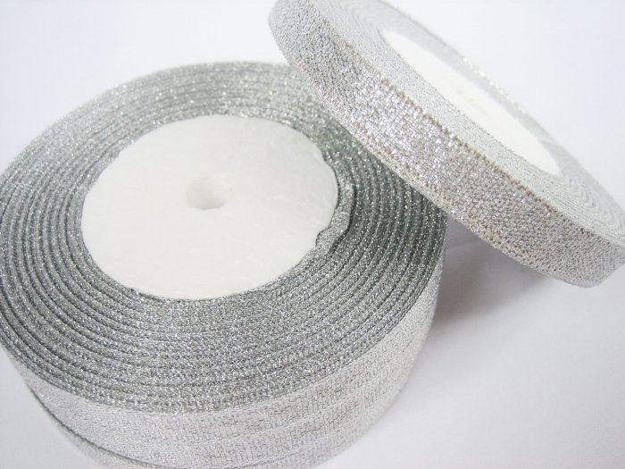 22 meters or 1 roll of 10mm Metallic Silver Lame Ribbon
