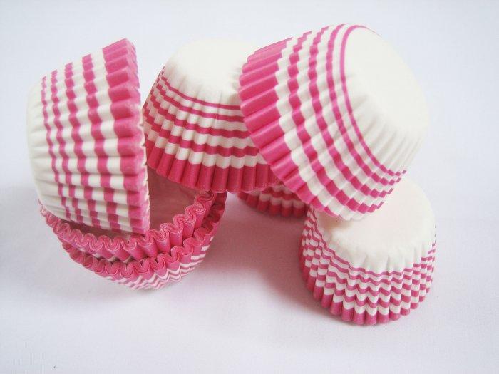 200pcs Mini Paper Cake Cup Pink Swirl Line