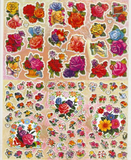 5 sheets Assorted Roses Sticker #TM0040