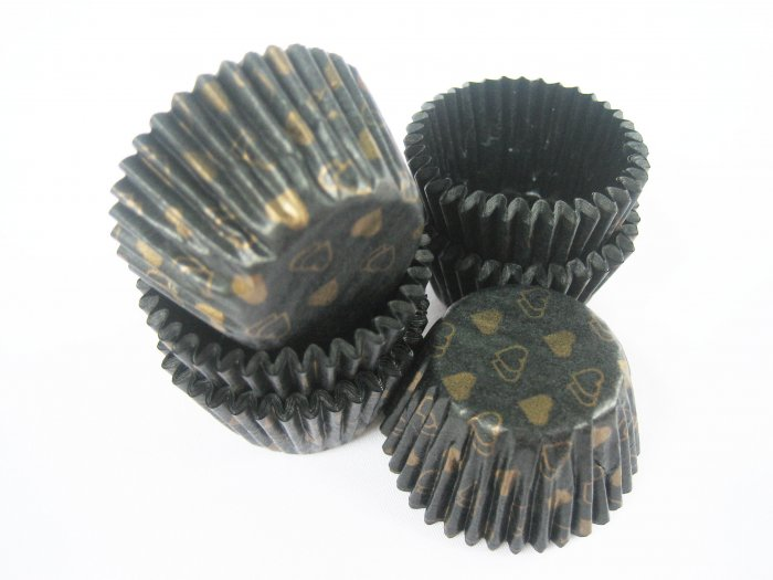 200pcs Mini Paper Cake Cup Black printed with Golden Heart Prints
