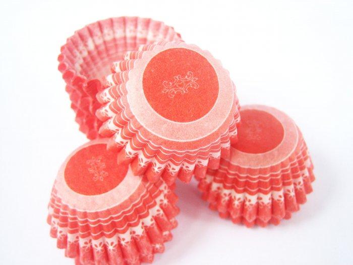 Bulk 1000pcs Mini Paper Cakecups Red and White Flora Prints