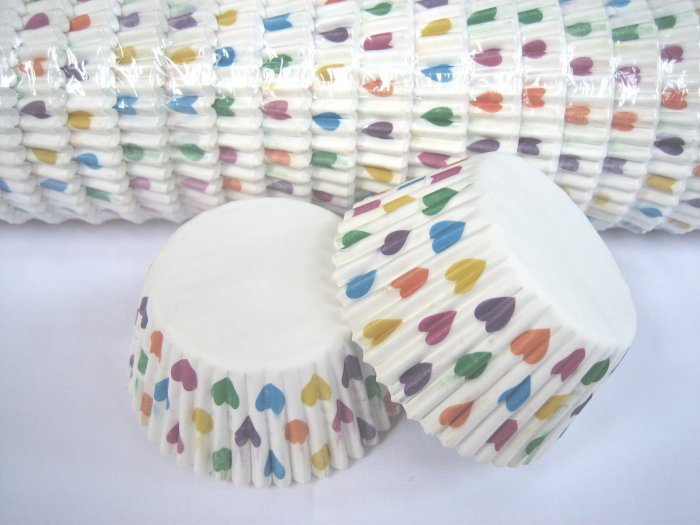 Bulk 1000pcs Cake Cup Printed with Colorful Heart US Standard Size
