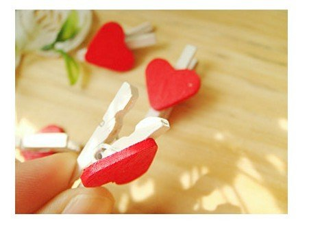 100pcs Wooden Peg with Red Heart