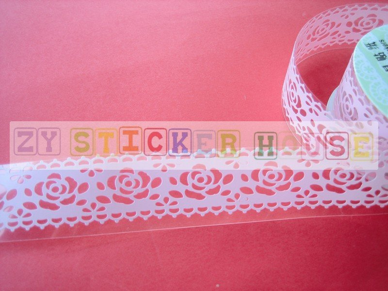 1 roll 24mm x 1m PVC Lace Tape Roses Design Pink Colour