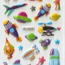 OK004D UFO Rocket Airplane Mini Puffy Sticker FREE SHIPPING