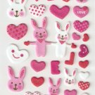 OK003B Rabbit Love Mini Puffy Sticker FREE SHIPPING