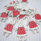 10pcs Wooden Button Rabbit Bunny in Red Dress