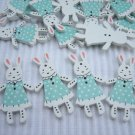 10pcs Wooden Button Rabbit Bunny in Blue Dress