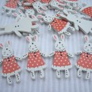 10pcs Wooden Button Rabbit Bunny in Orange Dress