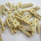 200pcs 25mmx4mm Natural Wood Colour Mini Wooden Clothespin Peg Scrapbooking Craft