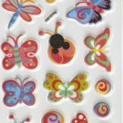 OK015g Butterfly and Ladybug Mini Puffy Sticker FREE SHIPPING