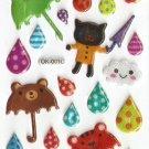OK001C Black Cats Raindrops and Umbrella Mini Puffy Sticker FREE SHIPPING