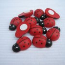 100pcs 14mm*19mm Hand painted Wooden Ladybug Ladybird Stick on No Shipping Fee