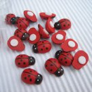 100pcs 9mm*13mm Hand painted Wooden Ladybug Ladybird Stick on No Shipping Fee